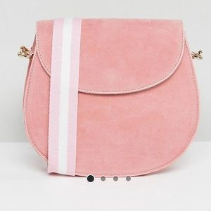 Pink faux Suede Saddle Bag